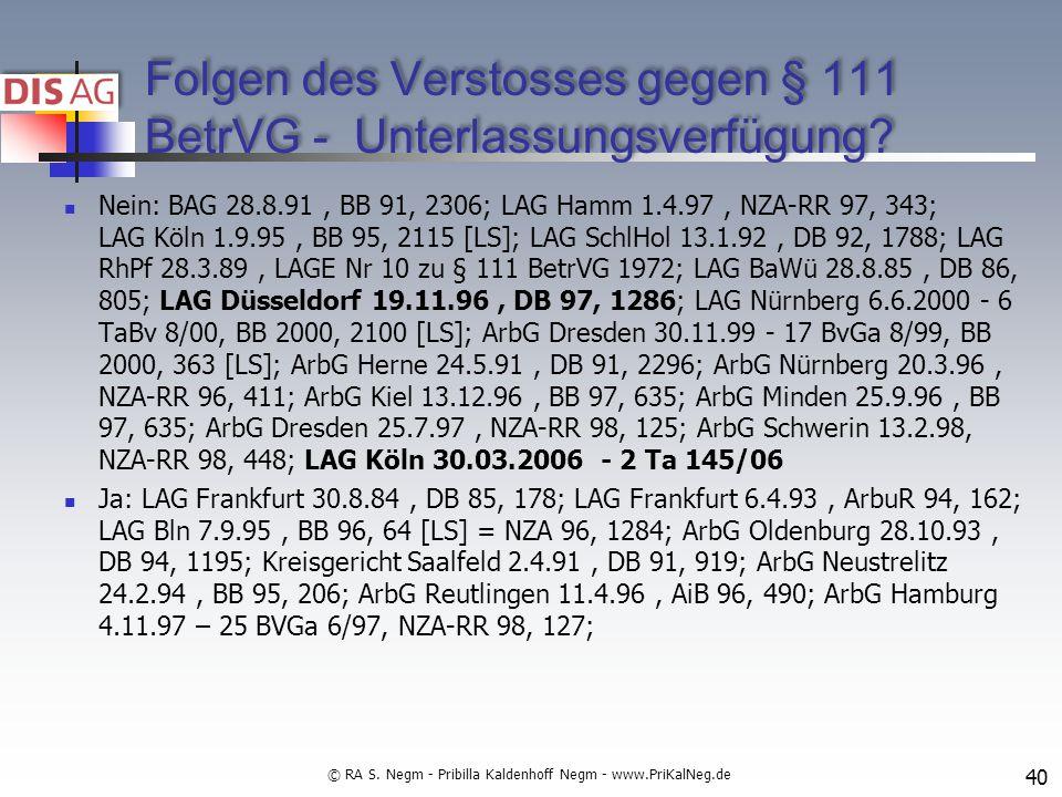 Folgen des Verstosses gegen § 111 BetrVG - Unterlassungsverfügung.