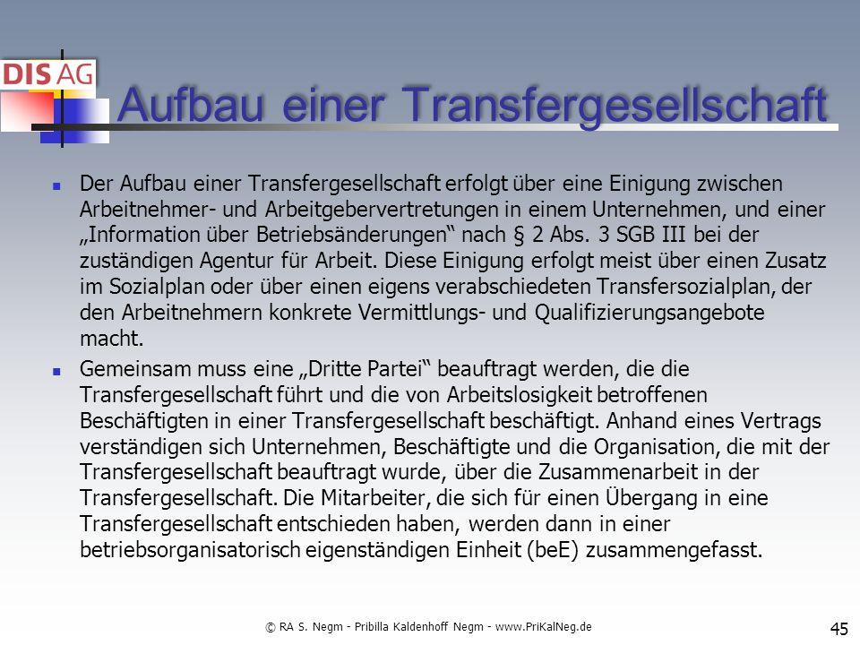 Aufbau einer Transfergesellschaft Der Aufbau einer Transfergesellschaft erfolgt über eine Einigung zwischen Arbeitnehmer- und Arbeitgebervertretungen in einem Unternehmen, und einer Information über Betriebsänderungen nach § 2 Abs.
