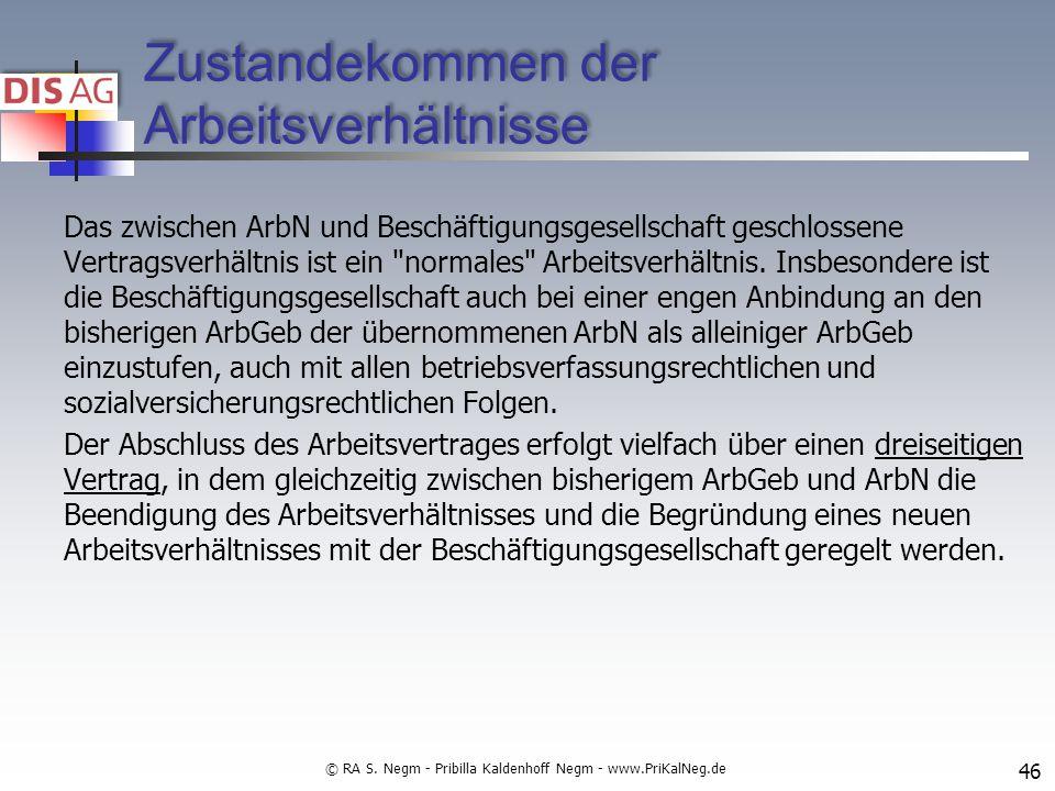 Zustandekommen der Arbeitsverhältnisse Das zwischen ArbN und Beschäftigungsgesellschaft geschlossene Vertragsverhältnis ist ein normales Arbeitsverhältnis.