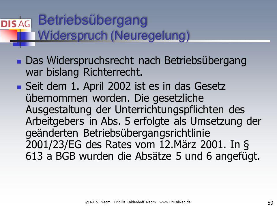 Betriebsübergang Widerspruch (Neuregelung) Das Widerspruchsrecht nach Betriebsübergang war bislang Richterrecht.