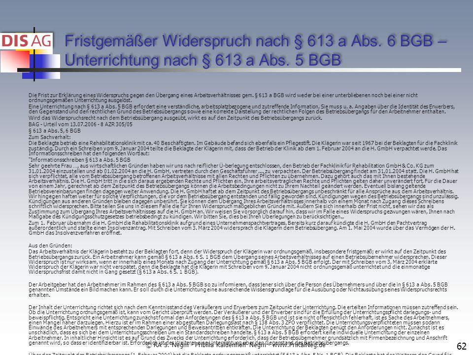 Fristgemäßer Widerspruch nach § 613 a Abs.6 BGB – Unterrichtung nach § 613 a Abs.