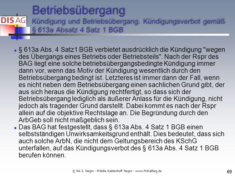Betriebsübergang Kündigung und Betriebsübergang.