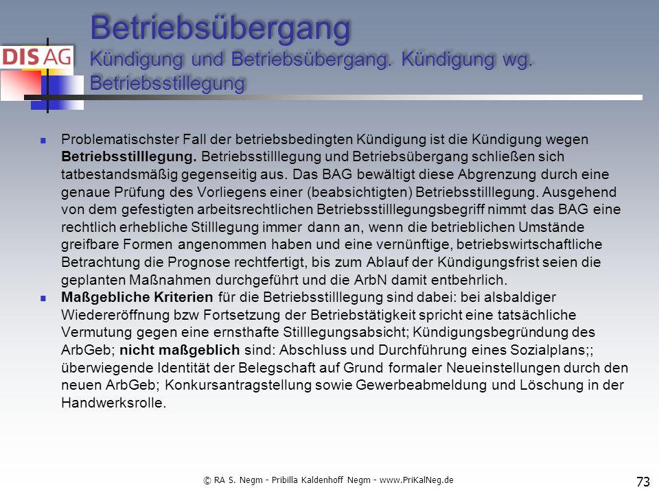 Betriebsübergang Kündigung und Betriebsübergang.Kündigung wg.