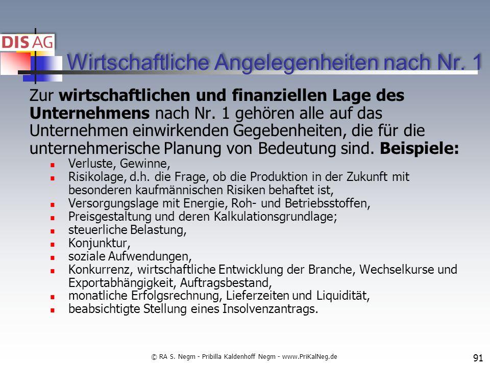 Wirtschaftliche Angelegenheiten nach Nr.