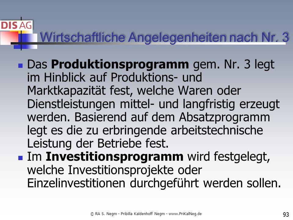 Wirtschaftliche Angelegenheiten nach Nr.3 Das Produktionsprogramm gem.