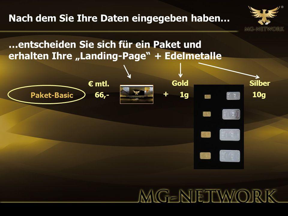 Nach dem Sie Ihre Daten eingegeben haben… GoldSilber 1g10g 66,- mtl. Paket-Basic …entscheiden Sie sich für ein Paket und erhalten Ihre Landing-Page +