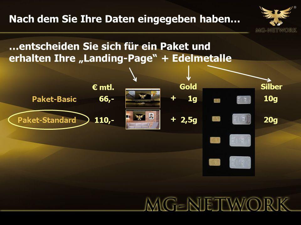 Nach dem Sie Ihre Daten eingegeben haben… GoldSilber 1g 2,5g 10g 20g 66,- 110,- Paket-Basic Paket-Standard …entscheiden Sie sich für ein Paket und erh