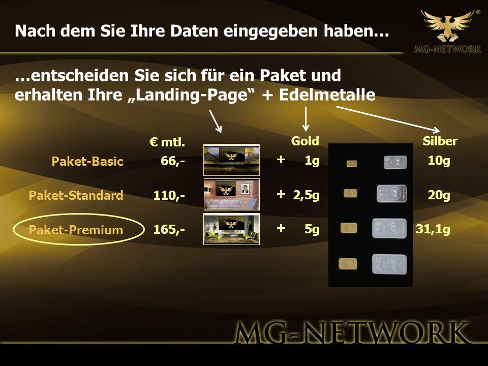 Nach dem Sie Ihre Daten eingegeben haben… GoldSilber 1g 2,5g 5g 10g 20g 31,1g 66,- 110,- 165,- Paket-Basic Paket-Standard Paket-Premium …entscheiden S