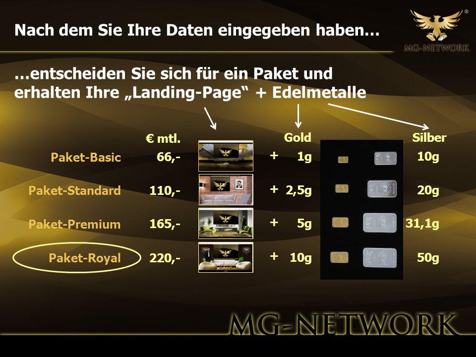 Nach dem Sie Ihre Daten eingegeben haben… GoldSilber 1g 2,5g 5g 10g 20g 31,1g 50g 66,- 110,- 165,- 220,- Paket-Basic Paket-Standard Paket-Premium Pake