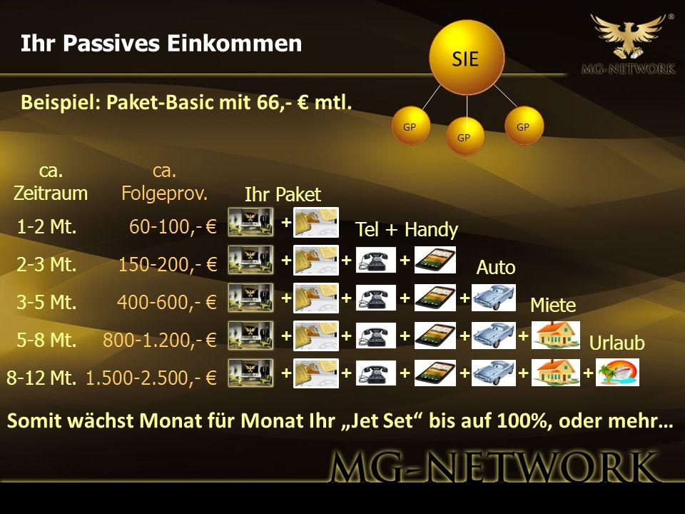 Beispiel: Paket-Basic mit 66,- mtl. SIE GP Ihr Passives Einkommen ca. Zeitraum ca. Folgeprov. Ihr Paket 1-2 Mt.60-100,- + 2-3 Mt.150-200,- + Tel + Han