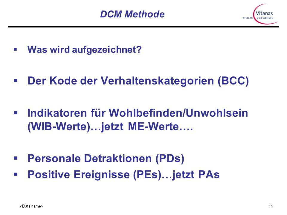 13 DCM Methode Kontinuierliche Beobachtung von bis zu 8 Personen über mindestens 6 Stunden im öffentlichen Bereich Detailliertes Aufzeichnen von Aktiv