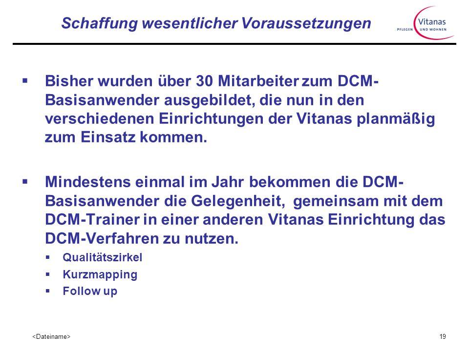18 Prozesse in der Managementebene Das DCM-Verfahren sollte in allen Vitanas Einrichtungen mit folgenden Zielen zum Einsatz kommen: Ermittlung des Sta