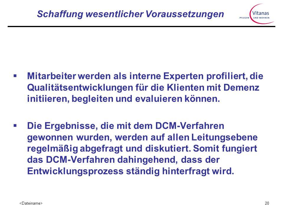 19 Schaffung wesentlicher Voraussetzungen Bisher wurden über 30 Mitarbeiter zum DCM- Basisanwender ausgebildet, die nun in den verschiedenen Einrichtu