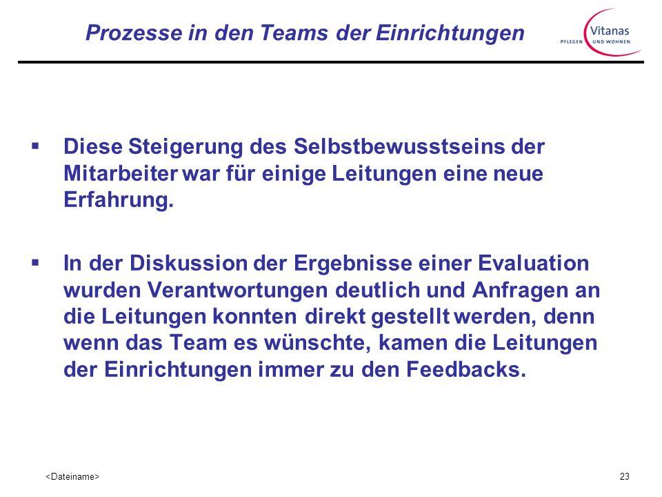 22 Prozesse in den Teams der Einrichtungen Hilfreich war, dass konkrete Entwicklungen durch die Arbeit an den Resultaten der Evaluation mit dem DCM Ve
