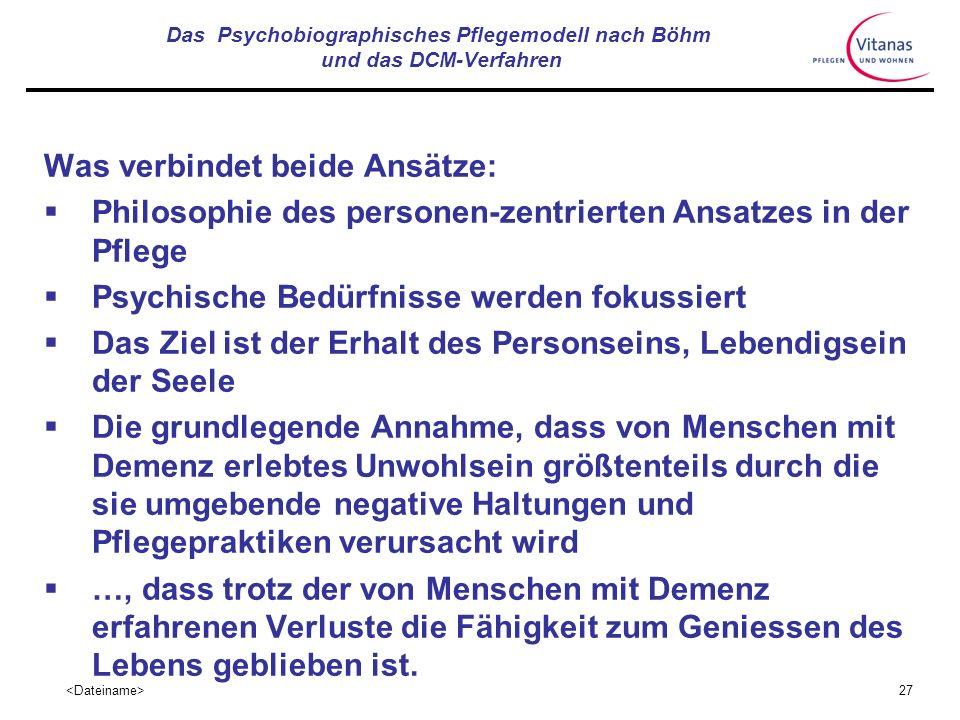 26 Das Psychobiographisches Pflegemodell nach Böhm und das DCM-Verfahren Lebensqualität wird nach diesem Modell vor allem mit Kriterien der Reaktivier