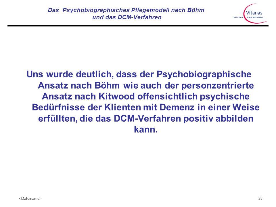 27 Das Psychobiographisches Pflegemodell nach Böhm und das DCM-Verfahren Was verbindet beide Ansätze: Philosophie des personen-zentrierten Ansatzes in