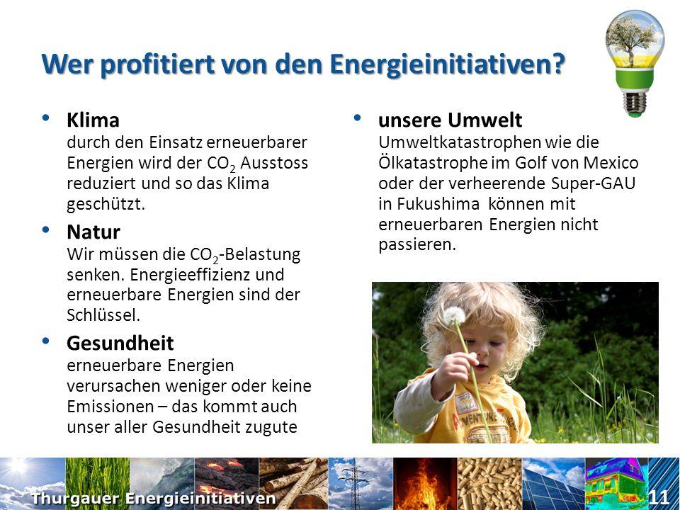 Wer profitiert von den Energieinitiativen? Land und Forstwirtschaft, Gewerbe und KMU Solarstrom von Dächern, Biogas aus Gülle und Grüngutabfällen, Wär