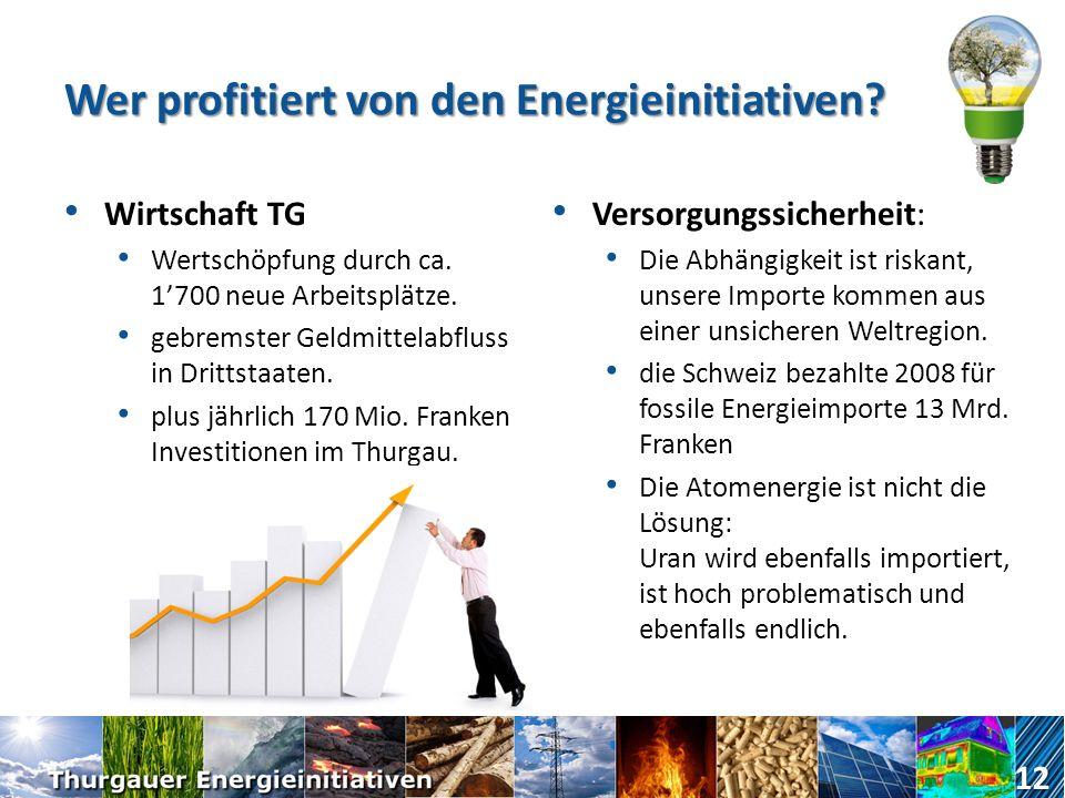 Wer profitiert von den Energieinitiativen? Klima durch den Einsatz erneuerbarer Energien wird der CO 2 Ausstoss reduziert und so das Klima geschützt.