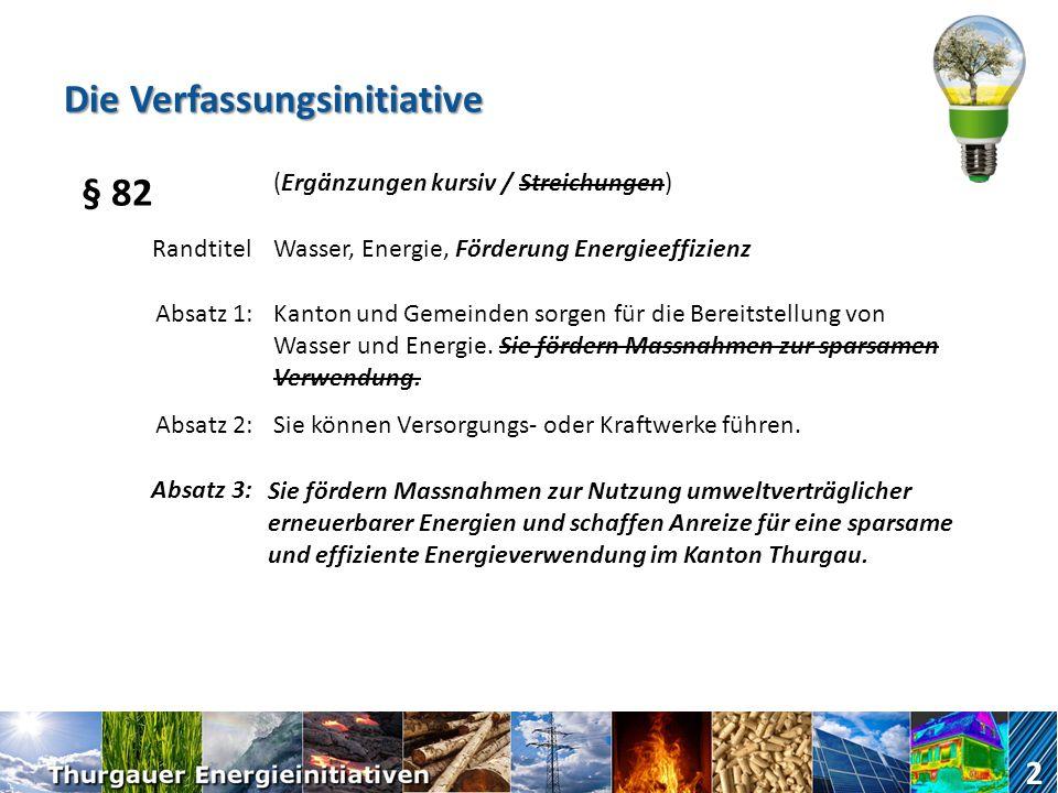 Die Verfassungsinitiative 2 § 82 (Ergänzungen kursiv / Streichungen) RandtitelWasser, Energie, Förderung Energieeffizienz Absatz 1:Kanton und Gemeinden sorgen für die Bereitstellung von Wasser und Energie.