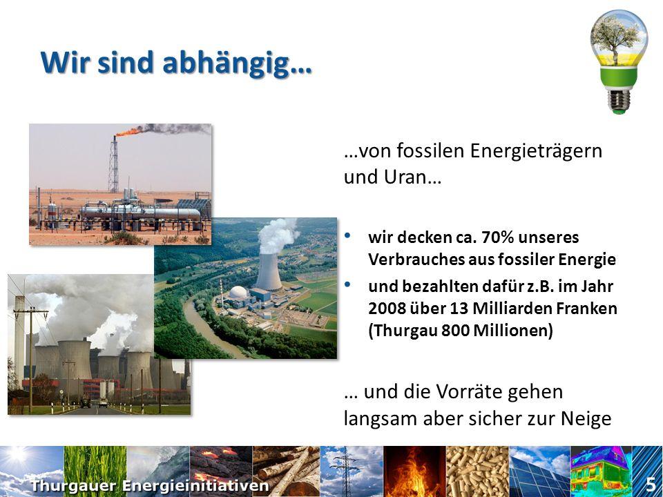 Wir sind abhängig… …von fossilen Energieträgern und Uran… wir decken ca.