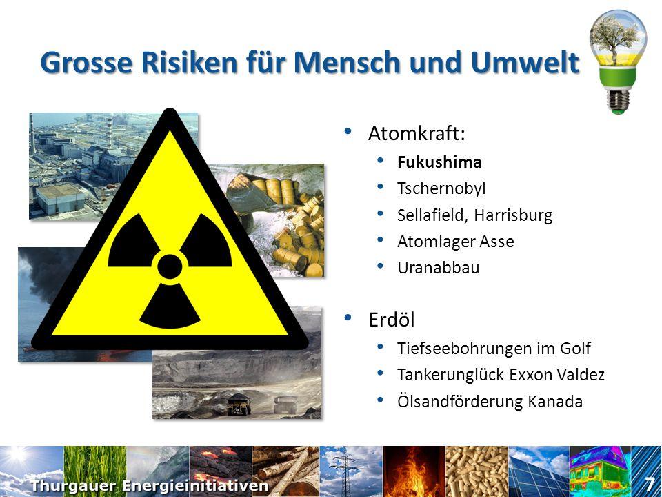 Grosse Risiken für Mensch und Umwelt Atomkraft: Fukushima Tschernobyl Sellafield, Harrisburg Atomlager Asse Uranabbau Erdöl Tiefseebohrungen im Golf Tankerunglück Exxon Valdez Ölsandförderung Kanada 7