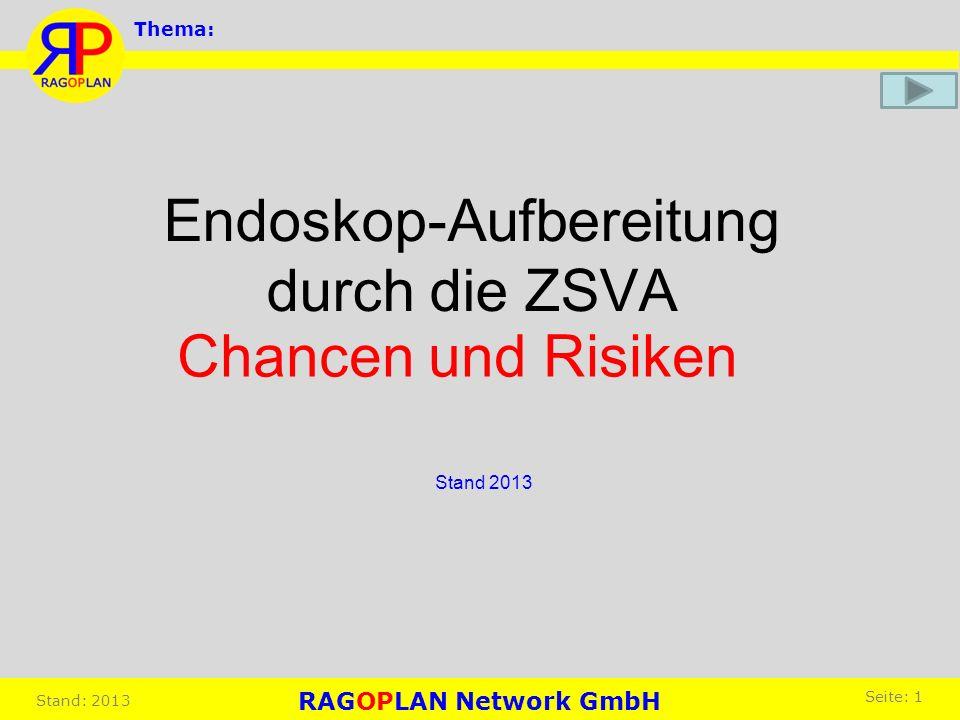 Endoskop-Aufbereitung durch die ZSVA Stand 2013 Chancen und Risiken Thema: RAGOPLAN Network GmbH Seite: 1 Stand: 2013