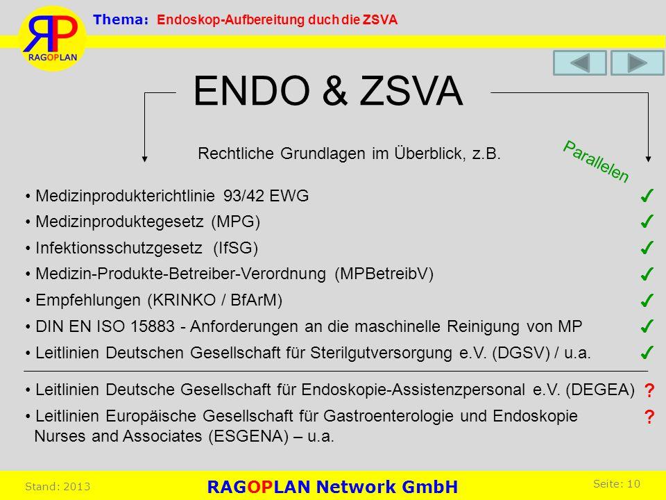Rechtliche Grundlagen im Überblick, z.B. ENDO & ZSVA Medizinproduktegesetz (MPG) Medizin-Produkte-Betreiber-Verordnung (MPBetreibV) Empfehlungen (KRIN