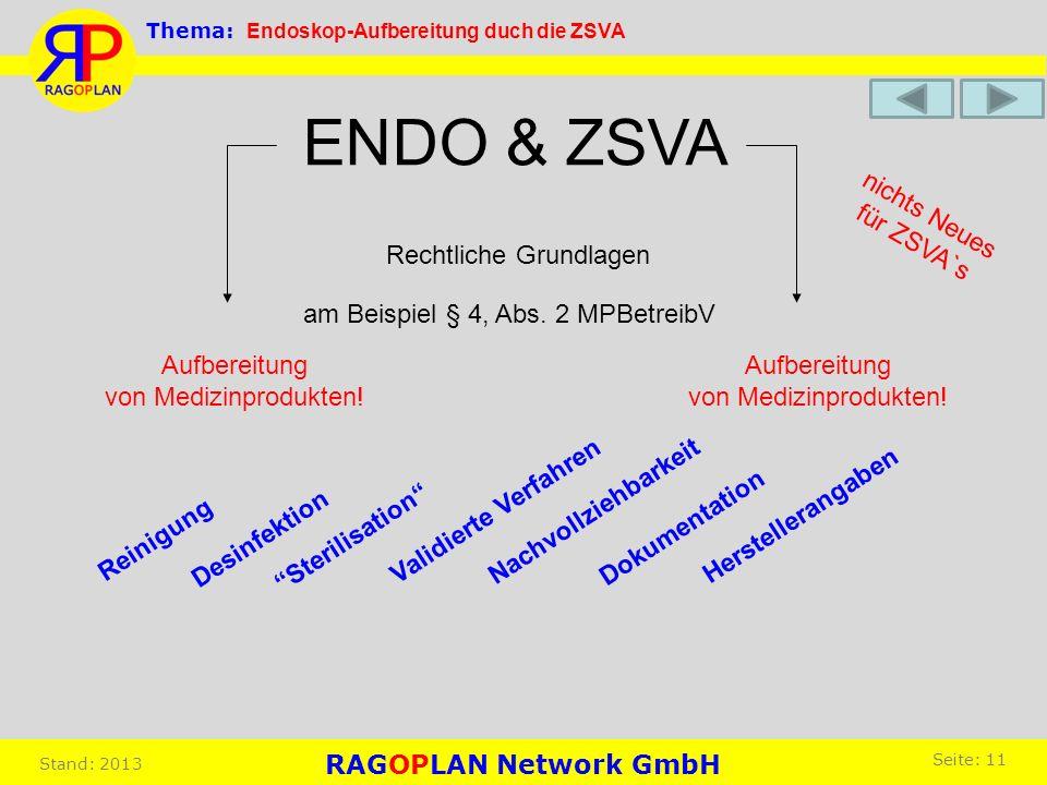 am Beispiel § 4, Abs. 2 MPBetreibV Aufbereitung von Medizinprodukten! Aufbereitung von Medizinprodukten! ENDO & ZSVA Reinigung Rechtliche Grundlagen n