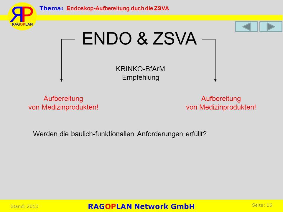 Aufbereitung von Medizinprodukten! Aufbereitung von Medizinprodukten! ENDO & ZSVA KRINKO-BfArM Empfehlung Werden die baulich-funktionallen Anforderung