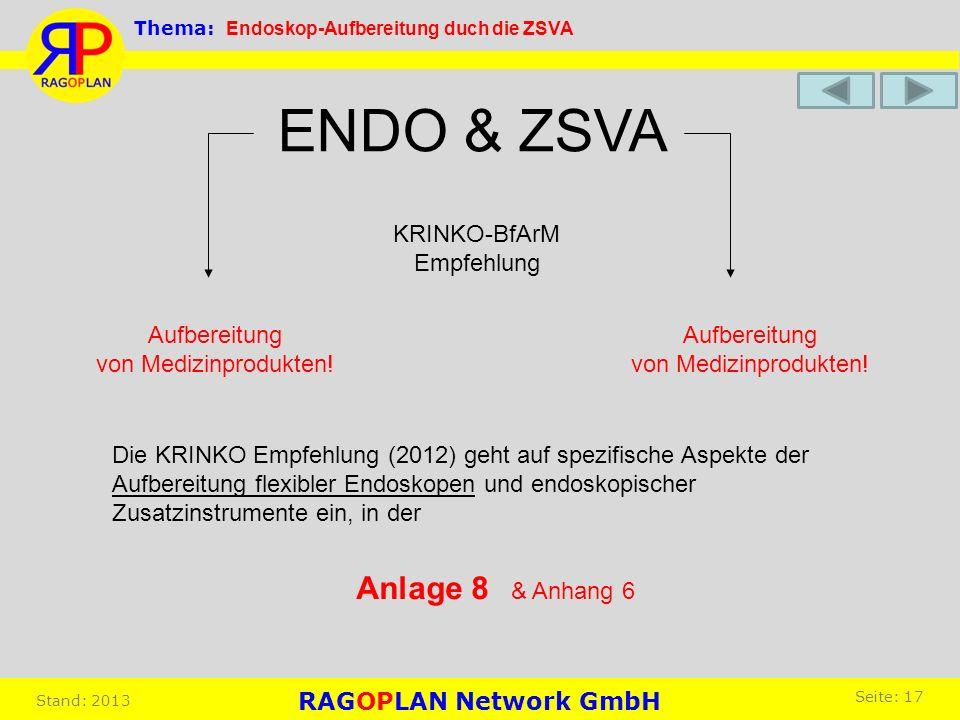 Aufbereitung von Medizinprodukten! Aufbereitung von Medizinprodukten! ENDO & ZSVA KRINKO-BfArM Empfehlung Die KRINKO Empfehlung (2012) geht auf spezif
