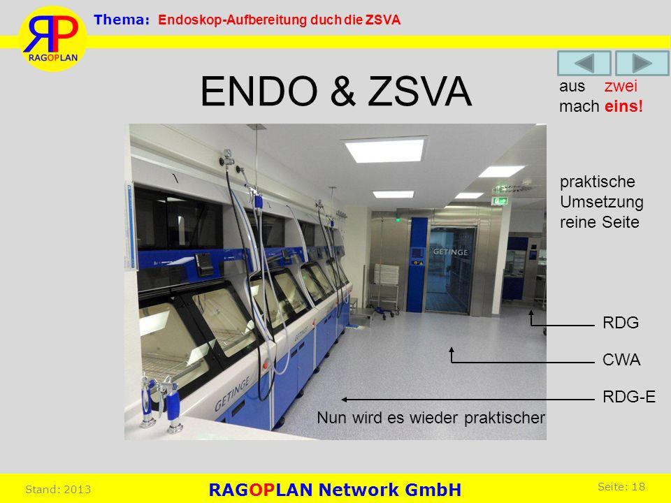 ENDO & ZSVA Nun wird es wieder praktischer RDG-E CWA RDG praktische Umsetzung reine Seite aus zwei mach eins! Thema: Endoskop-Aufbereitung duch die ZS