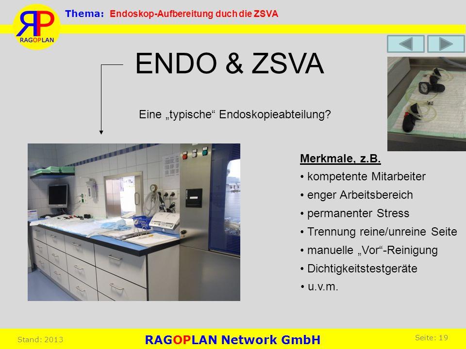 ENDO & ZSVA Eine typische Endoskopieabteilung? Merkmale, z.B. kompetente Mitarbeiter enger Arbeitsbereich permanenter Stress Trennung reine/unreine Se