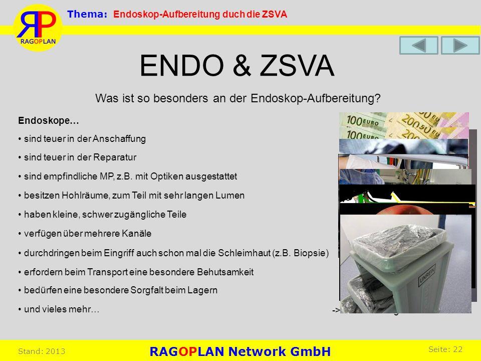 Was ist so besonders an der Endoskop-Aufbereitung? ENDO & ZSVA sind teuer in der Anschaffung besitzen Hohlräume, zum Teil mit sehr langen Lumen verfüg