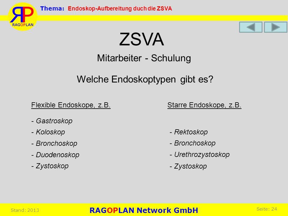 Mitarbeiter - Schulung ZSVA Welche Endoskoptypen gibt es? Flexible Endoskope, z.B. - Gastroskop - Duodenoskop - Koloskop - Bronchoskop - Zystoskop Sta