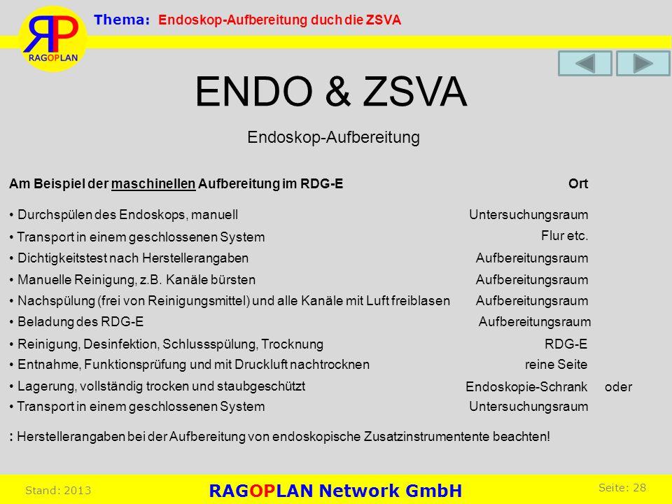 Endoskop-Aufbereitung ENDO & ZSVA Am Beispiel der maschinellen Aufbereitung im RDG-E Durchspülen des Endoskops, manuell Ort Untersuchungsraum Transpor