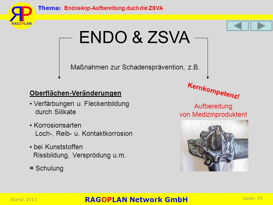 ENDO & ZSVA Maßnahmen zur Schadensprävention, z.B. Oberflächen-Veränderungen Verfärbungen u. Fleckenbildung durch Silikate Korrosionsarten Loch-, Reib