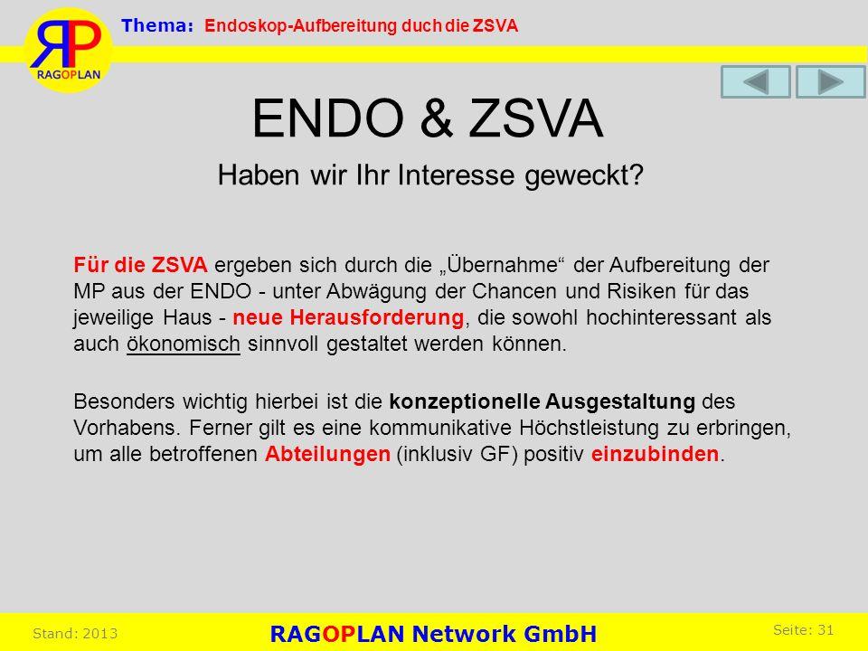 Haben wir Ihr Interesse geweckt? ENDO & ZSVA Für die ZSVA ergeben sich durch die Übernahme der Aufbereitung der MP aus der ENDO - unter Abwägung der C