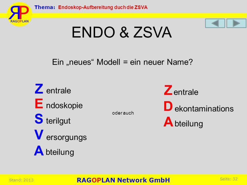 ENDO & ZSVA Ein neues Modell = ein neuer Name? Z E S V A oder auch Z bteilung entrale D A ekontaminations entrale bteilung ndoskopie terilgut ersorgun