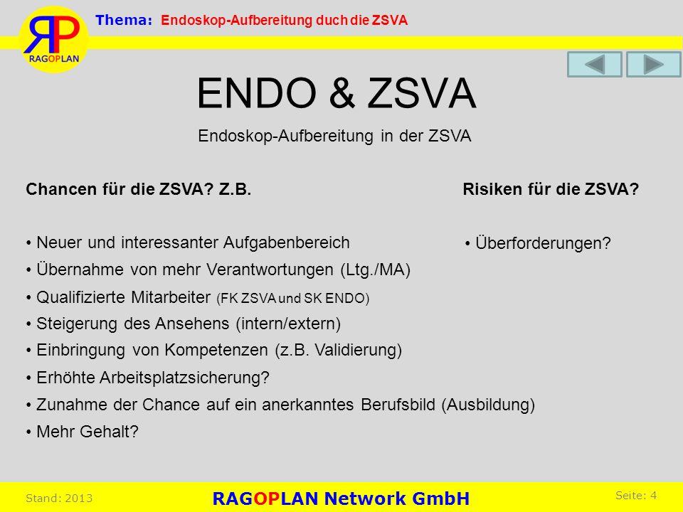 ENDO & ZSVA Risiken für die ZSVA?Chancen für die ZSVA? Z.B. Überforderungen? Übernahme von mehr Verantwortungen (Ltg./MA) Endoskop-Aufbereitung in der