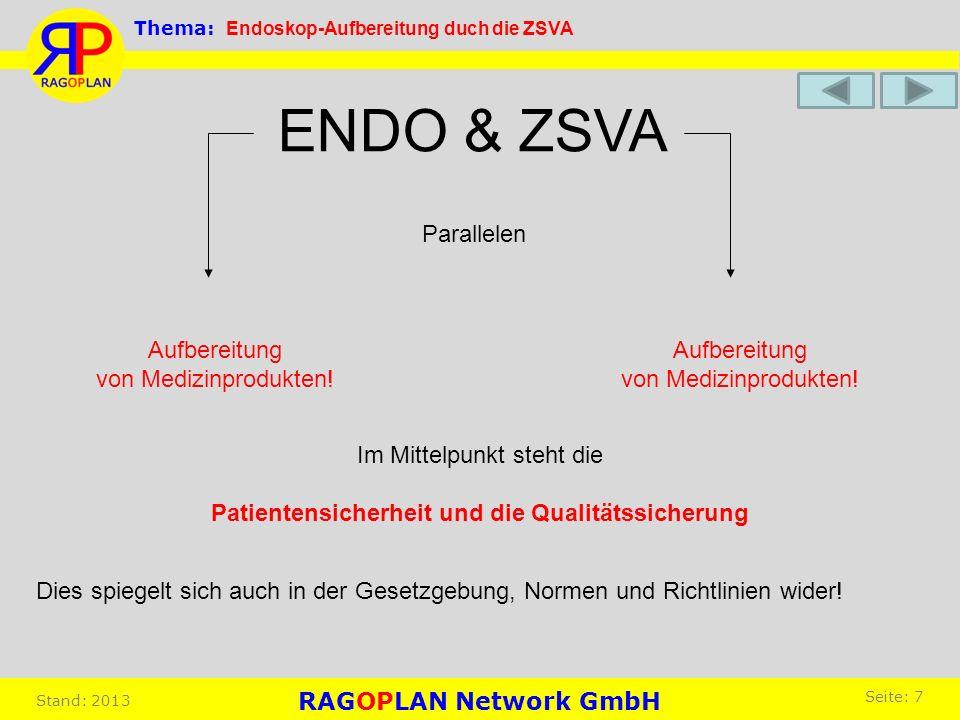 Parallelen Aufbereitung von Medizinprodukten! Aufbereitung von Medizinprodukten! ENDO & ZSVA Dies spiegelt sich auch in der Gesetzgebung, Normen und R