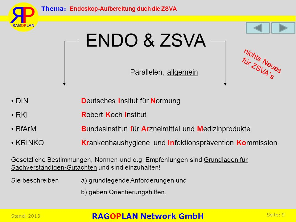 ENDO & ZSVA DIN Deutsches Insitut für Normung RKI Robert Koch Institut BfArM Bundesinstitut für Arzneimittel und Medizinprodukte KRINKO Krankenhaushyg