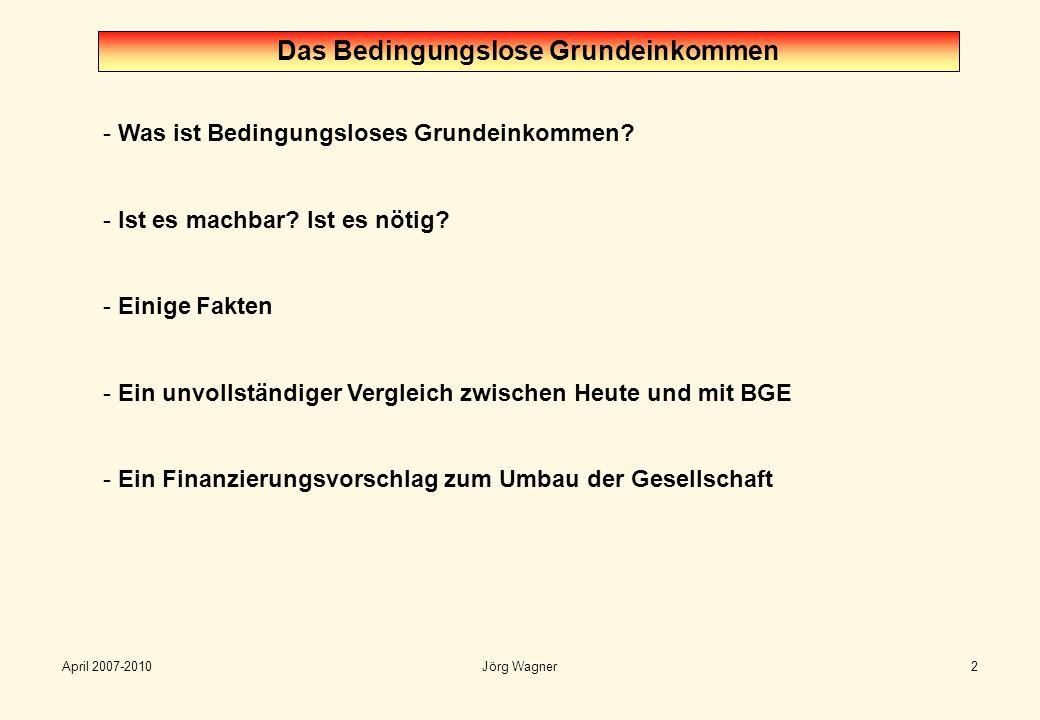 April 2007-2010Jörg Wagner2 - Was ist Bedingungsloses Grundeinkommen? - Ist es machbar? Ist es nötig? - Einige Fakten - Ein unvollständiger Vergleich