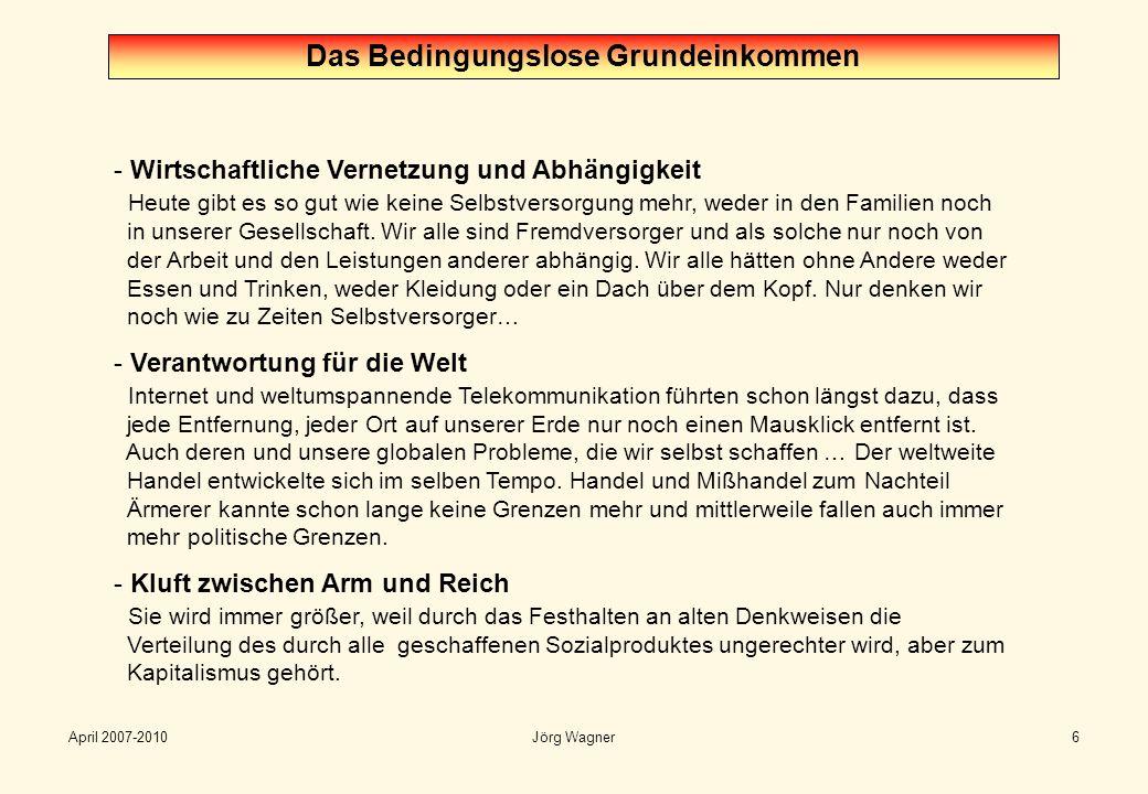 April 2007-2010Jörg Wagner6 Das Bedingungslose Grundeinkommen - Wirtschaftliche Vernetzung und Abhängigkeit Heute gibt es so gut wie keine Selbstverso