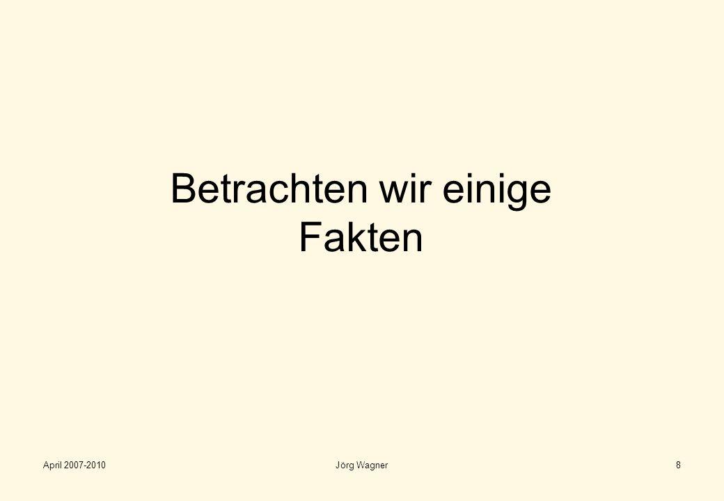 April 2007-2010Jörg Wagner9 Wie ist die Situation – Welche Fakten erleben wir….