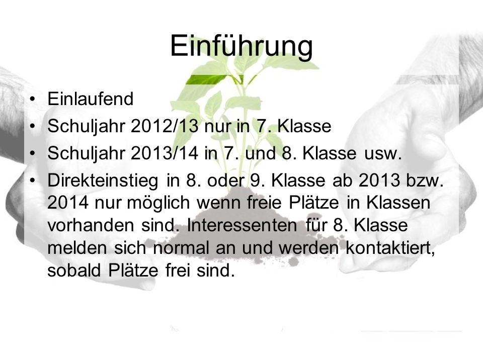 Einführung Einlaufend Schuljahr 2012/13 nur in 7. Klasse Schuljahr 2013/14 in 7.