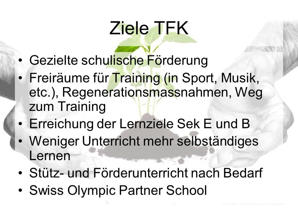 Ziele TFK Gezielte schulische Förderung Freiräume für Training (in Sport, Musik, etc.), Regenerationsmassnahmen, Weg zum Training Erreichung der Lernziele Sek E und B Weniger Unterricht mehr selbständiges Lernen Stütz- und Förderunterricht nach Bedarf Swiss Olympic Partner School
