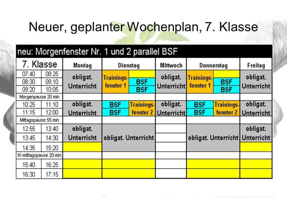 Neuer, geplanter Wochenplan, 7. Klasse