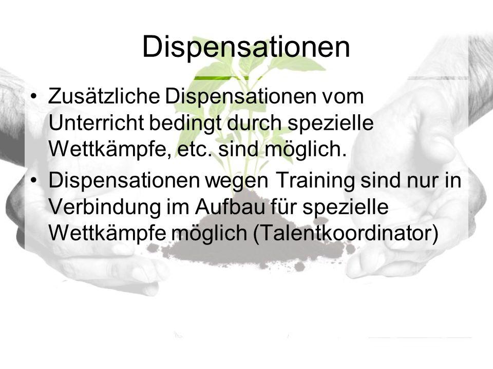 Dispensationen Zusätzliche Dispensationen vom Unterricht bedingt durch spezielle Wettkämpfe, etc.