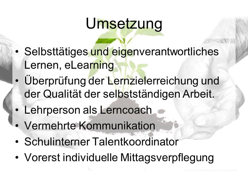 Umsetzung Selbsttätiges und eigenverantwortliches Lernen, eLearning Überprüfung der Lernzielerreichung und der Qualität der selbstständigen Arbeit.