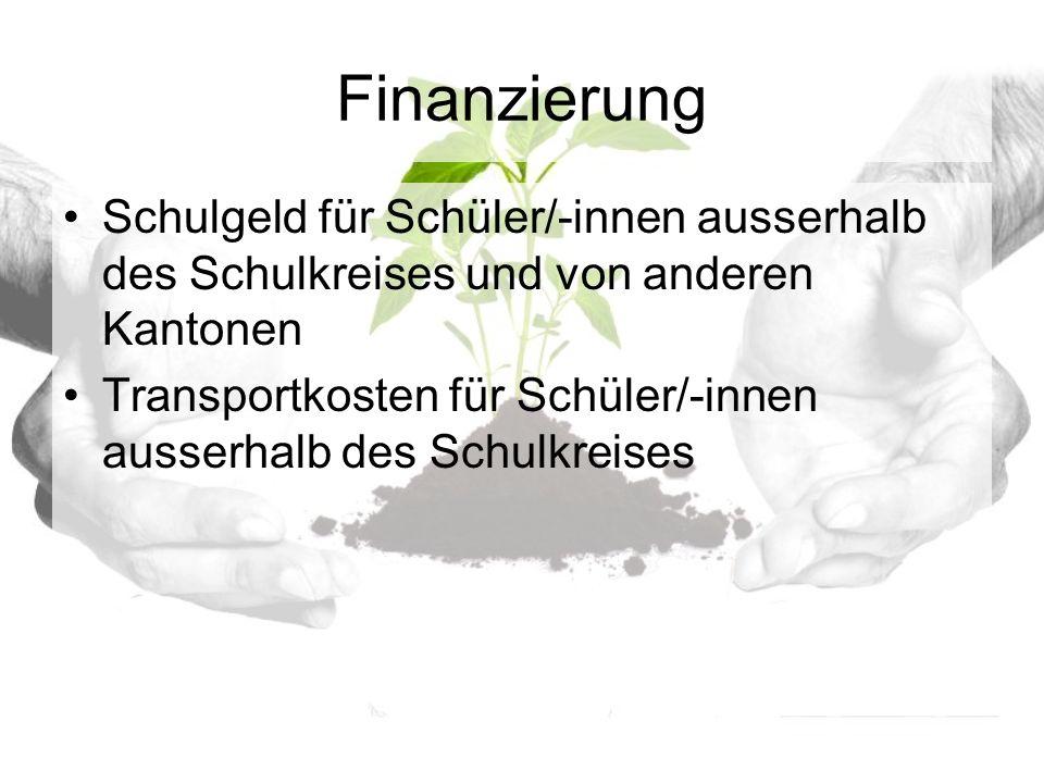 Finanzierung Schulgeld für Schüler/-innen ausserhalb des Schulkreises und von anderen Kantonen Transportkosten für Schüler/-innen ausserhalb des Schulkreises